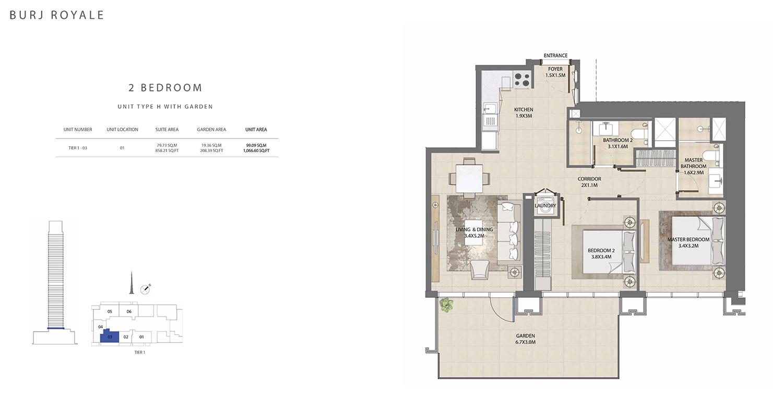 2 Bedroom Type H, Size 1066.60 sq ft