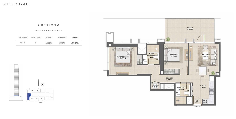 2 Bedroom Type I, Size 1057.13 sq ft