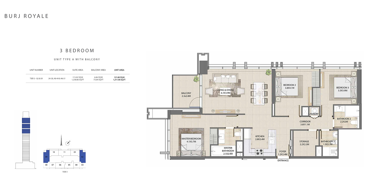 3 Bedroom  Type A, Size 1311.90 sq ft