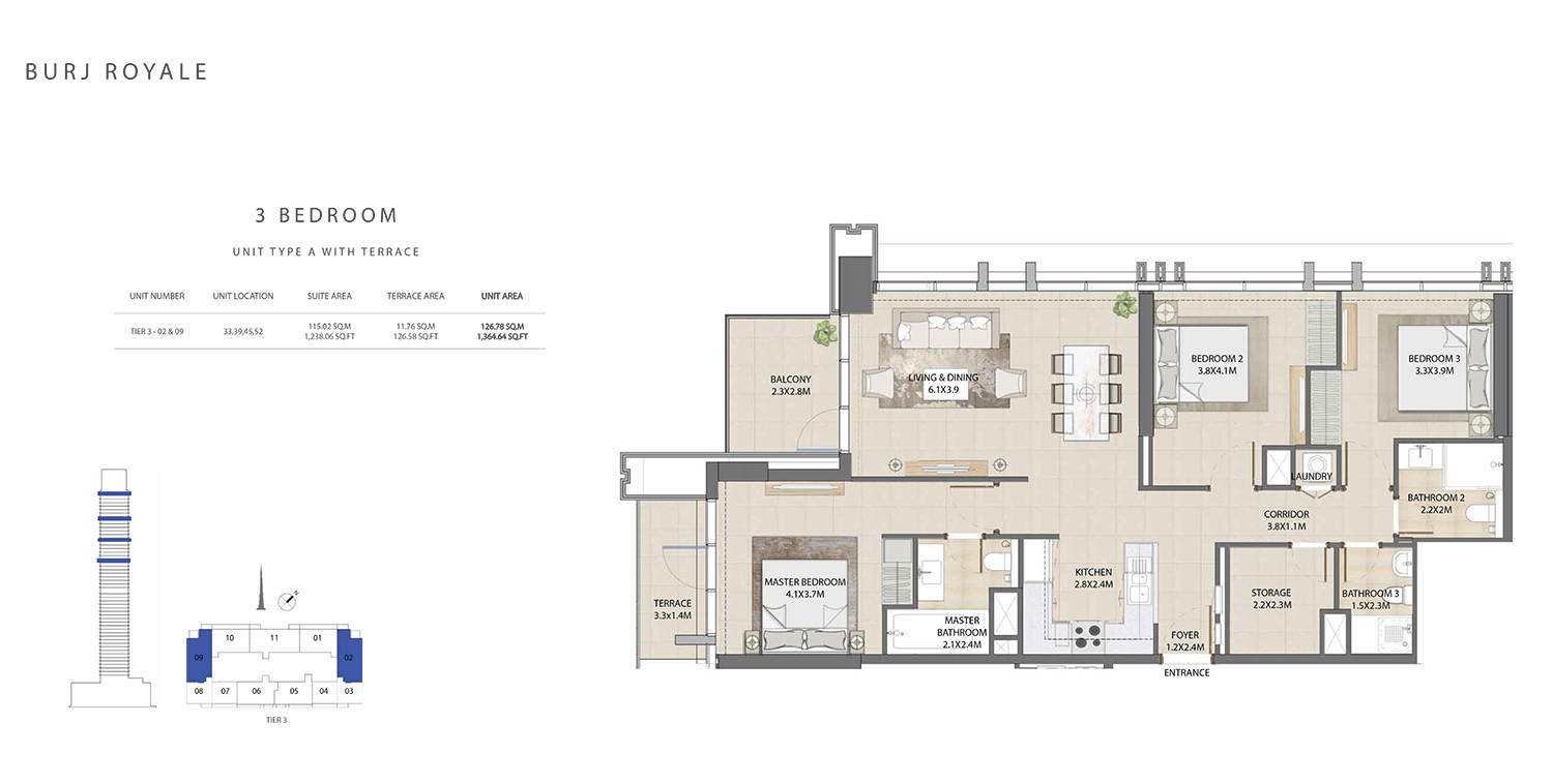 3 Bedroom Type A, Size 1364.64 sq ft
