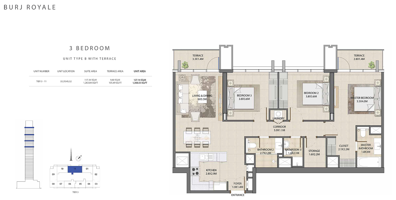 3 Bedroom Type B, Size 1368.53 sq ft