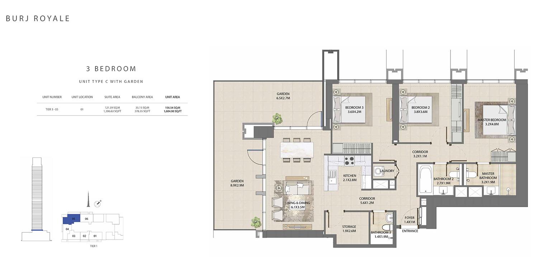 3 Bedroom Type C, Size 1684.98 sq ft