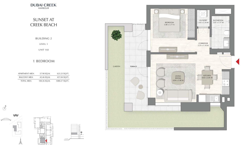Building 2 - 1 Bedroom Level 1 Unit 102 Size 1080.27 sq ft