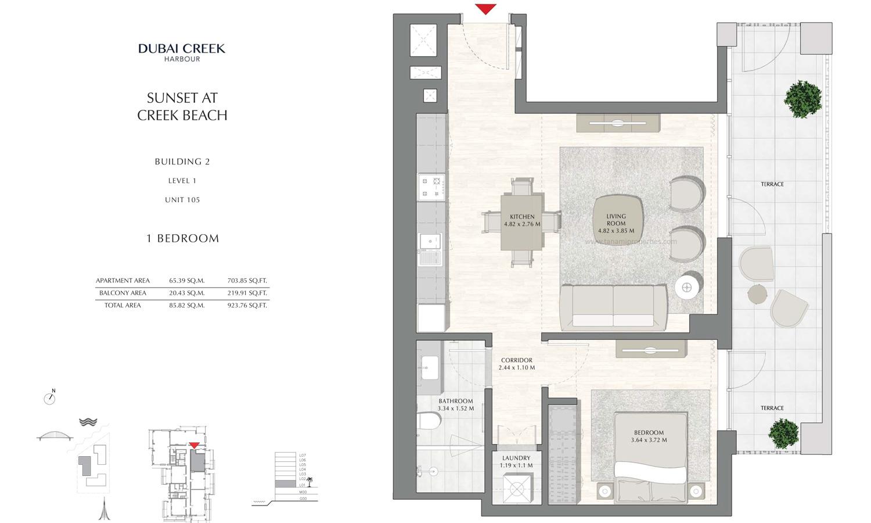 Building 2 - 1 Bedroom Level 1 Unit 105, Size 923.76 sq ft