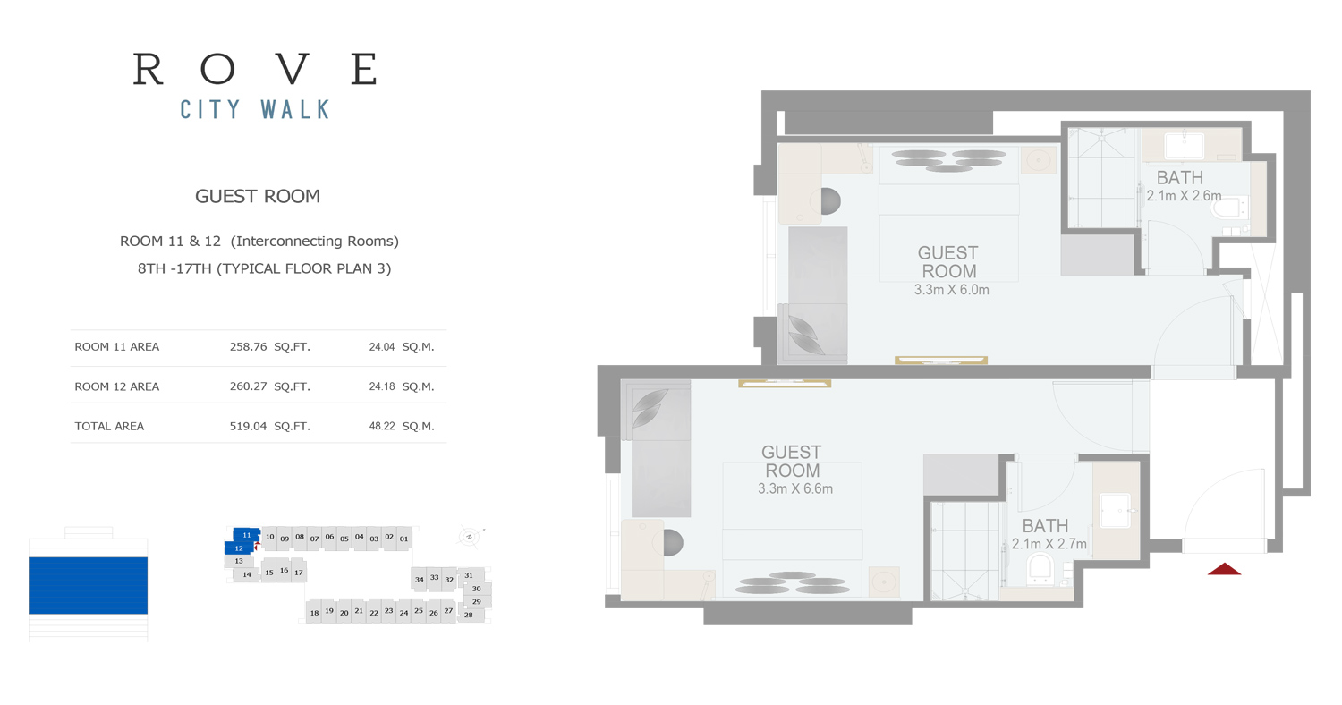 Hotel Room - Room 11-12 Typical Floor Plan 3 - 8th-17th Size 519.04 sq ft