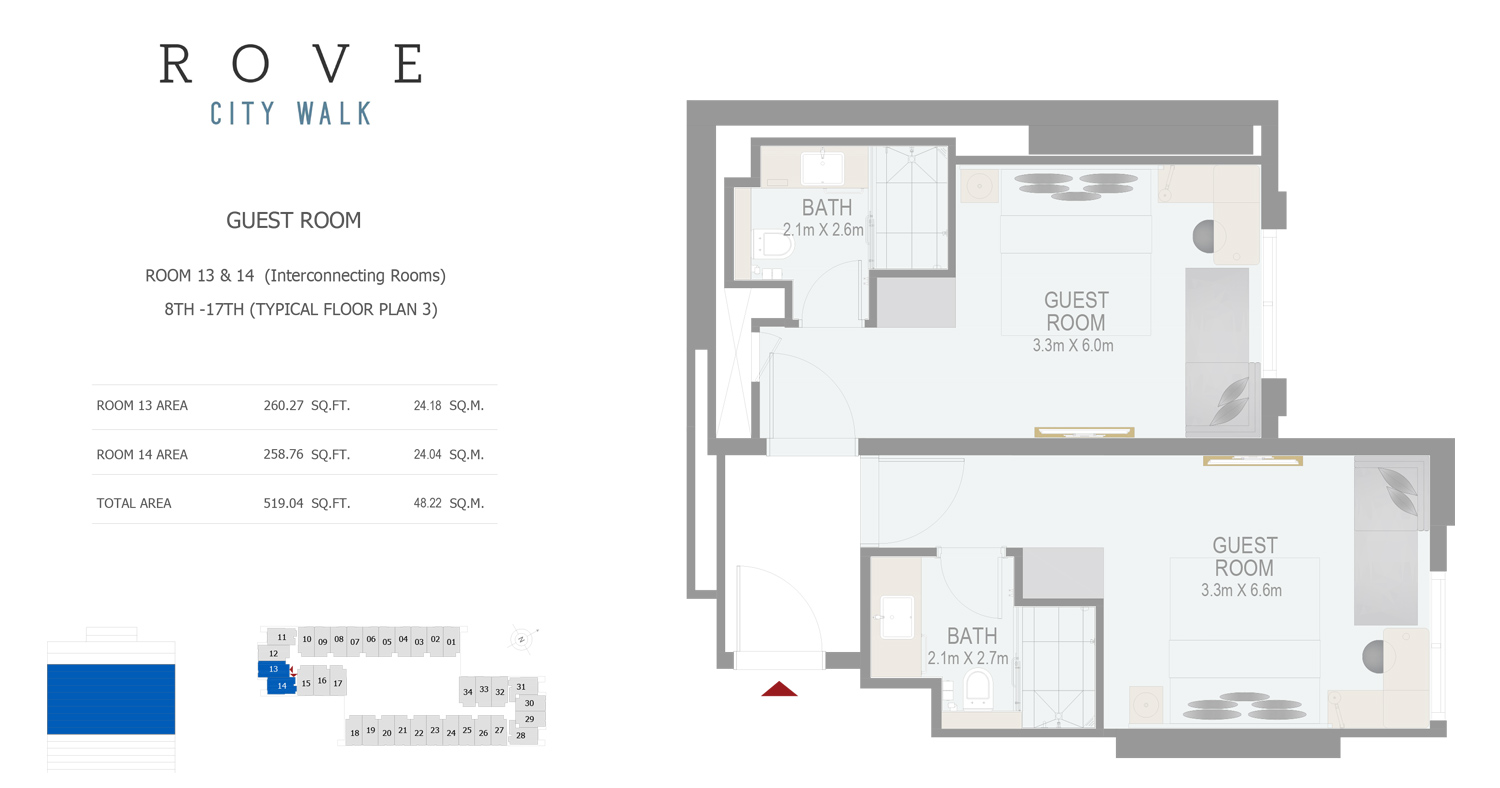 Hotel Room - Room 13-14 Typical Floor Plan 3 - 8th-17th Size 519.04 sq ft