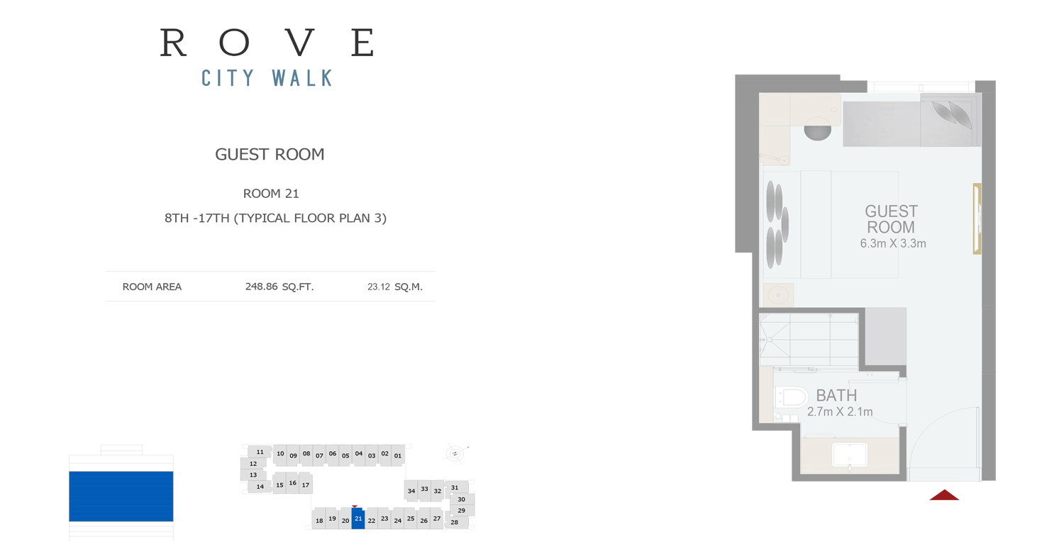 Hotel Room - Room 21 Typical Floor Plan 3 - 8th-17th Size 248.86 sq ft
