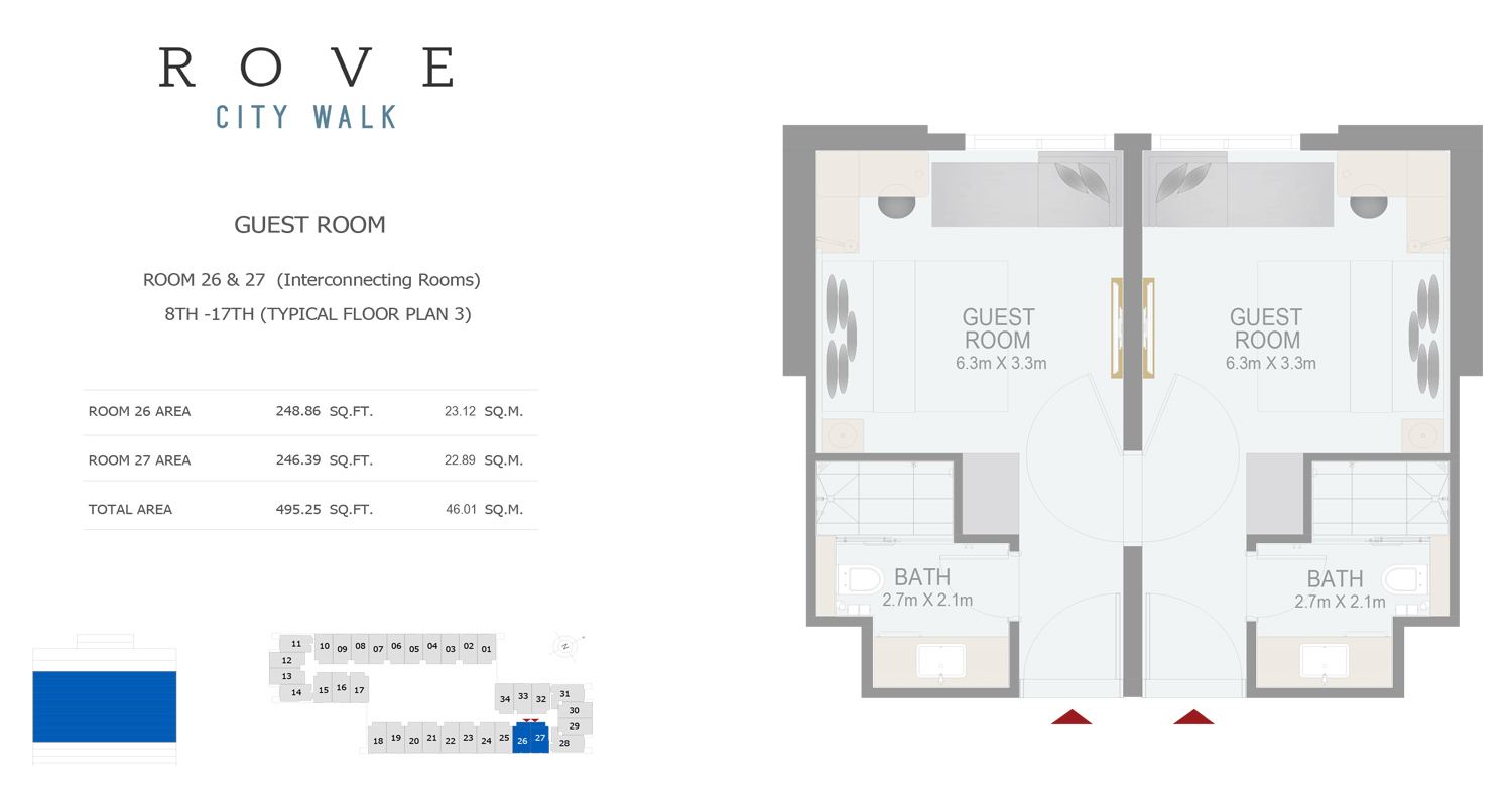 Hotel Room - Room 26-27 Typical Floor Plan 3 - 8th-17th Size 495.25 sq ft