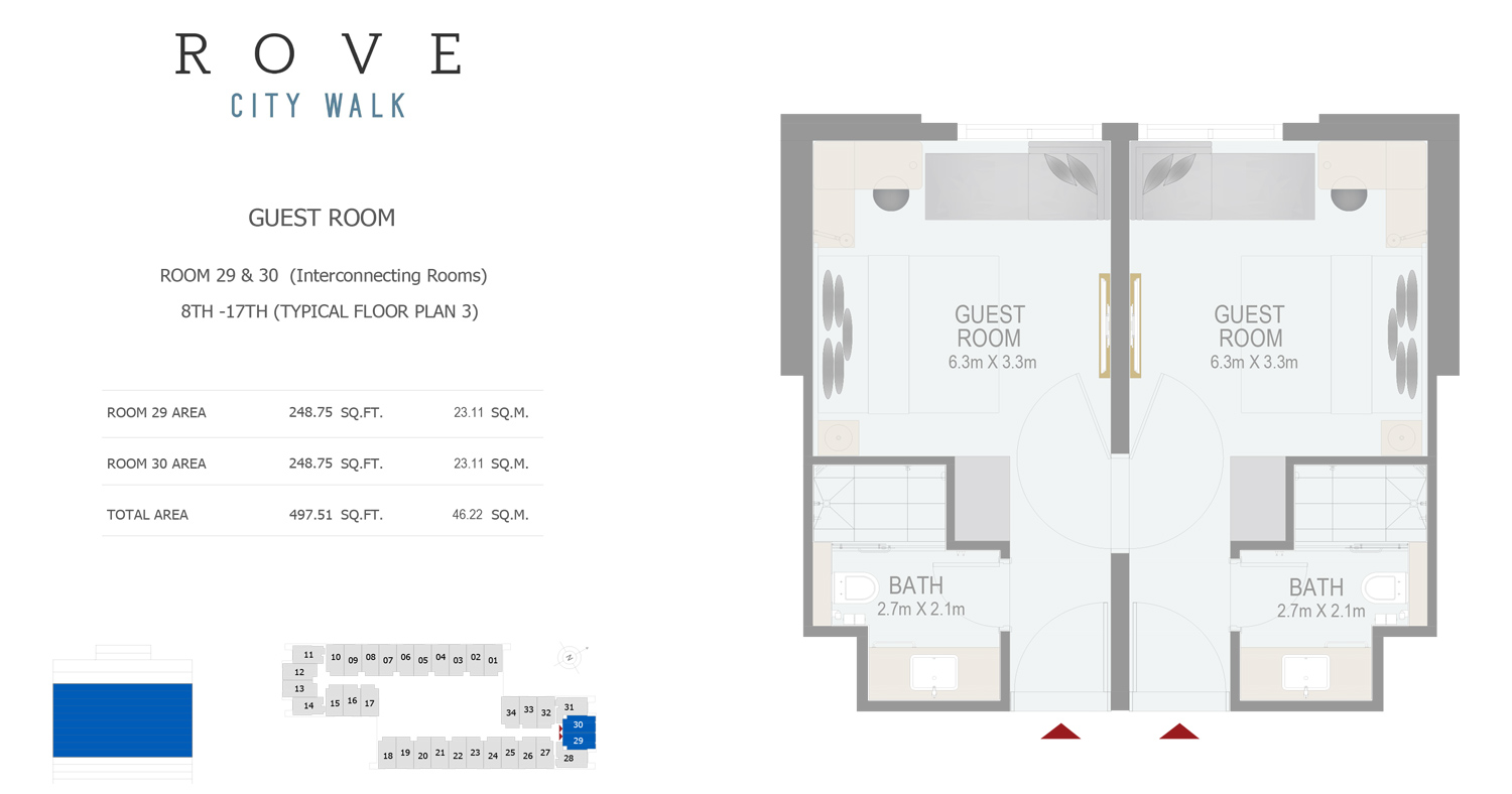 Hotel Room - Room 29-30 Typical Floor Plan 3 - 8th-17th Size 497.51 sq ft