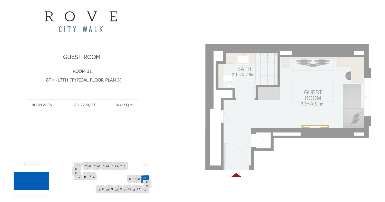 Hotel Room - Room 31 Typical Floor Plan 3 - 8th-17th Size 284.27 sq ft