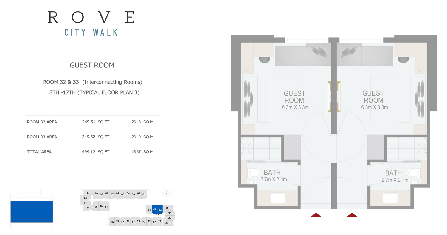 Hotel Room - Room 32-33 Typical Floor Plan 3 - 8th-17th Size 499.12 sq ft