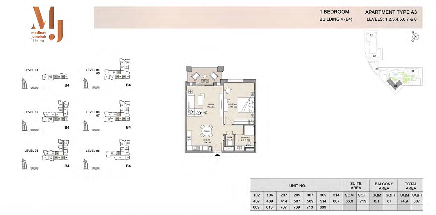 Building 4 - 1 Bedroom - Level 1 To 8  Type A3  Size 807 sq ft