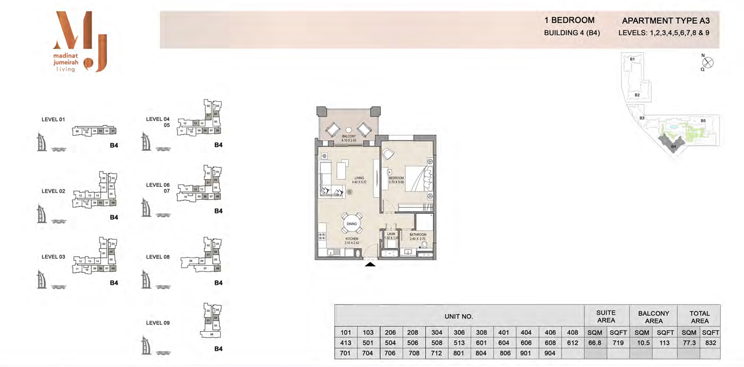 Building 4 - 1 Bedroom - Level 1 To 9  Type A3  Size 832 sq ft