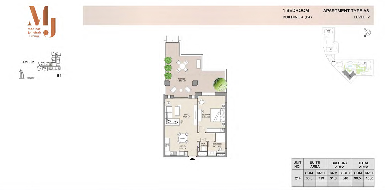 Building 4 - 1 Bedroom - Level 2 Type A3  Size 1060 sq ft