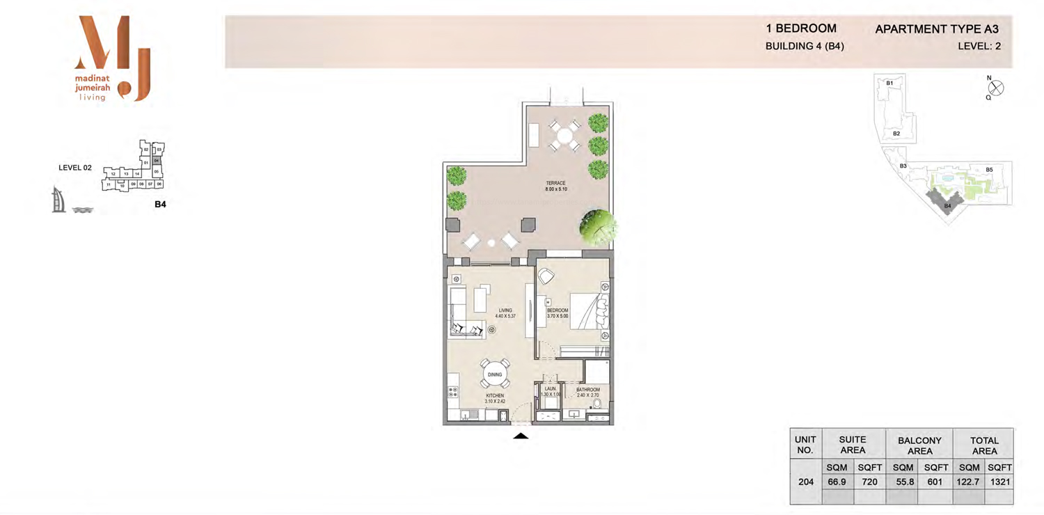 Building 4 - 1 Bedroom - Level 2 Type A3  Size 1321 sq ft