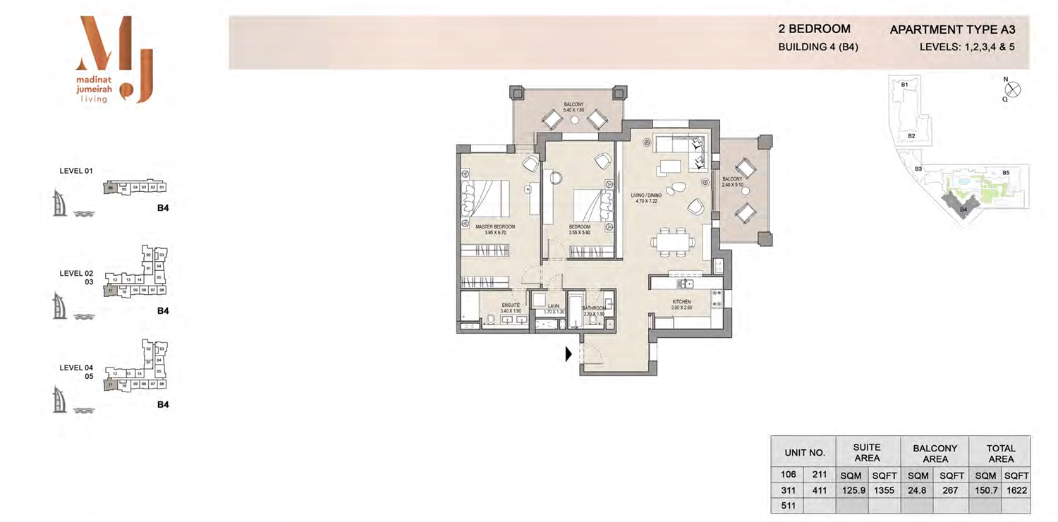 Building 4 - 2 Bedroom - Level 1 To 5  Type A3  Size 1622 sq ft