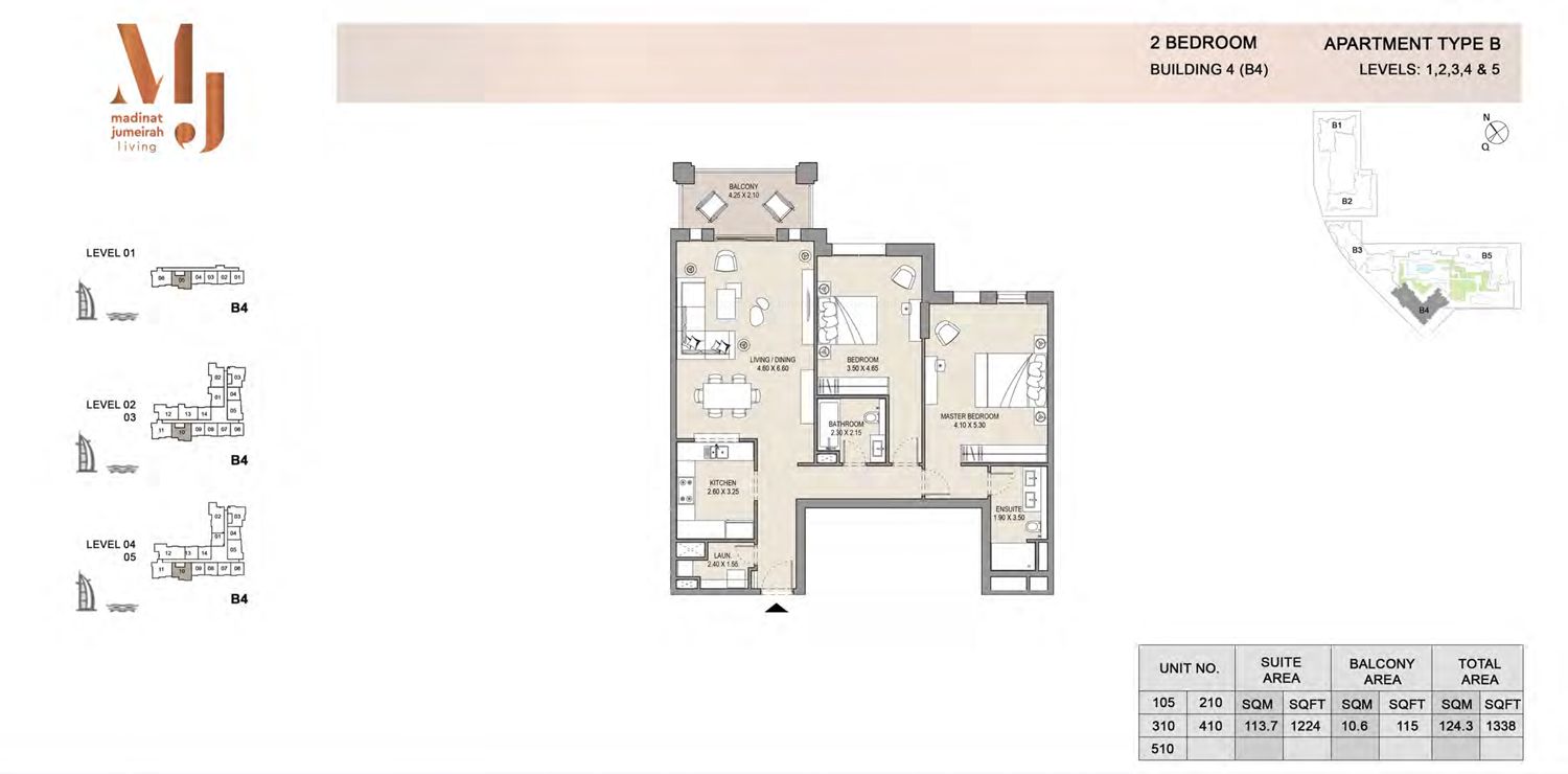 Building 4 - 2 Bedroom - Level 1 To 5  Type B  Size 1338 sq ft
