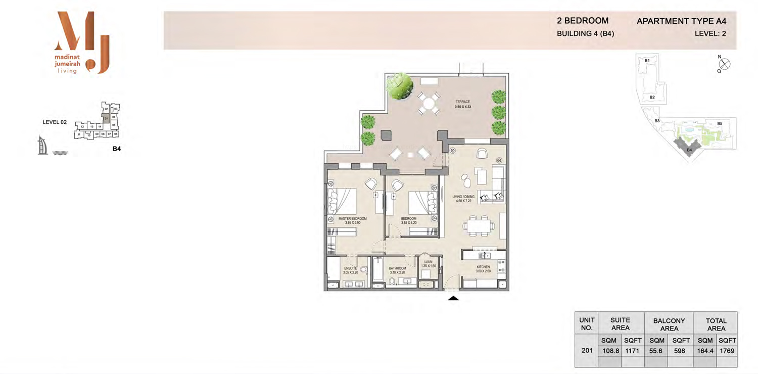 Building 4 - 2 Bedroom - Level 2 Type A4  Size 1769 sq ft
