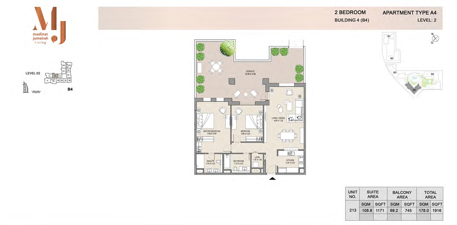 Building 4 - 2 Bedroom - Level 2  Type A4  Size 1916 sq ft