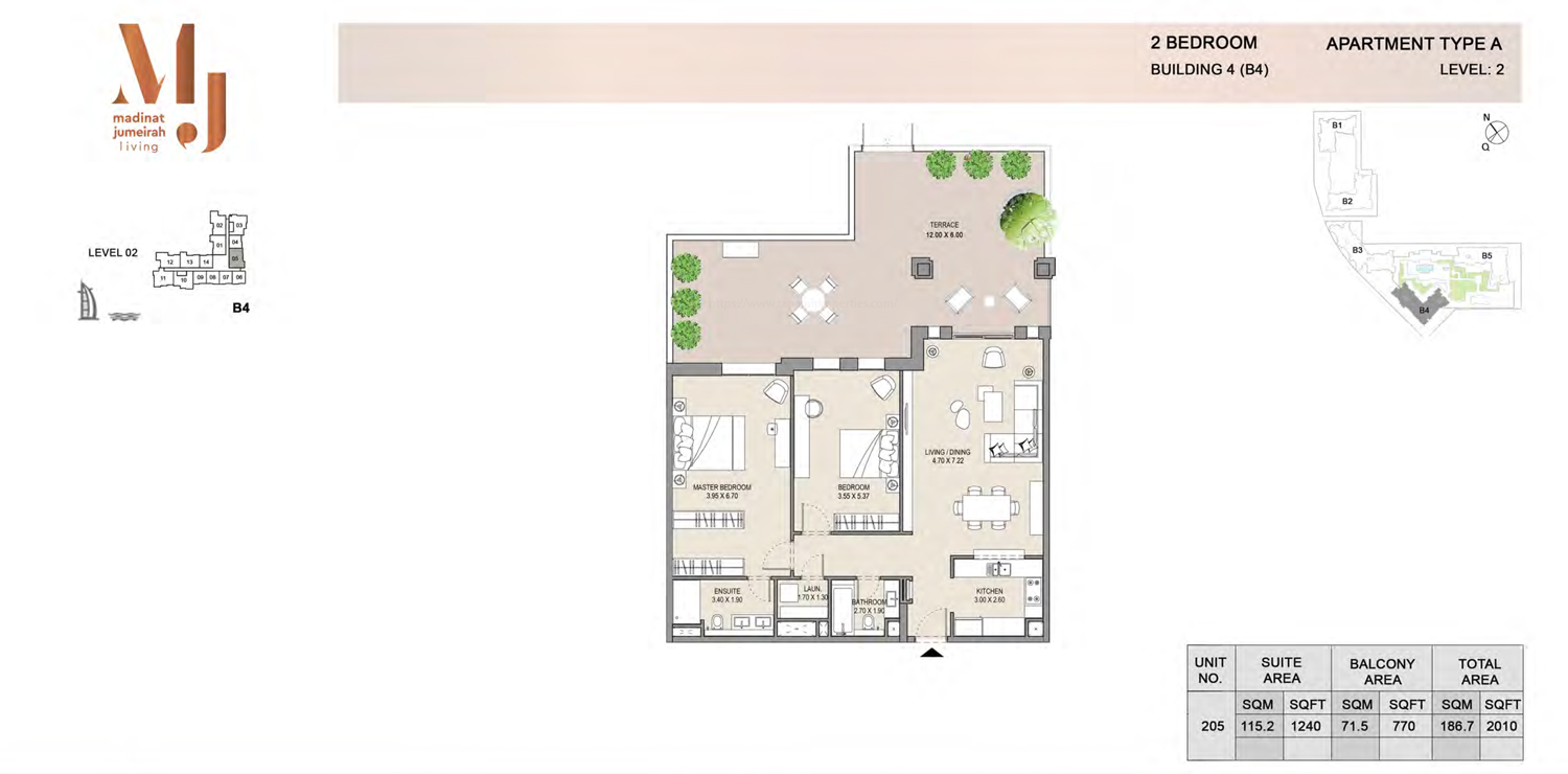 Building 4 - 2 Bedroom - Level 2  Type A  Size 2010 sq ft