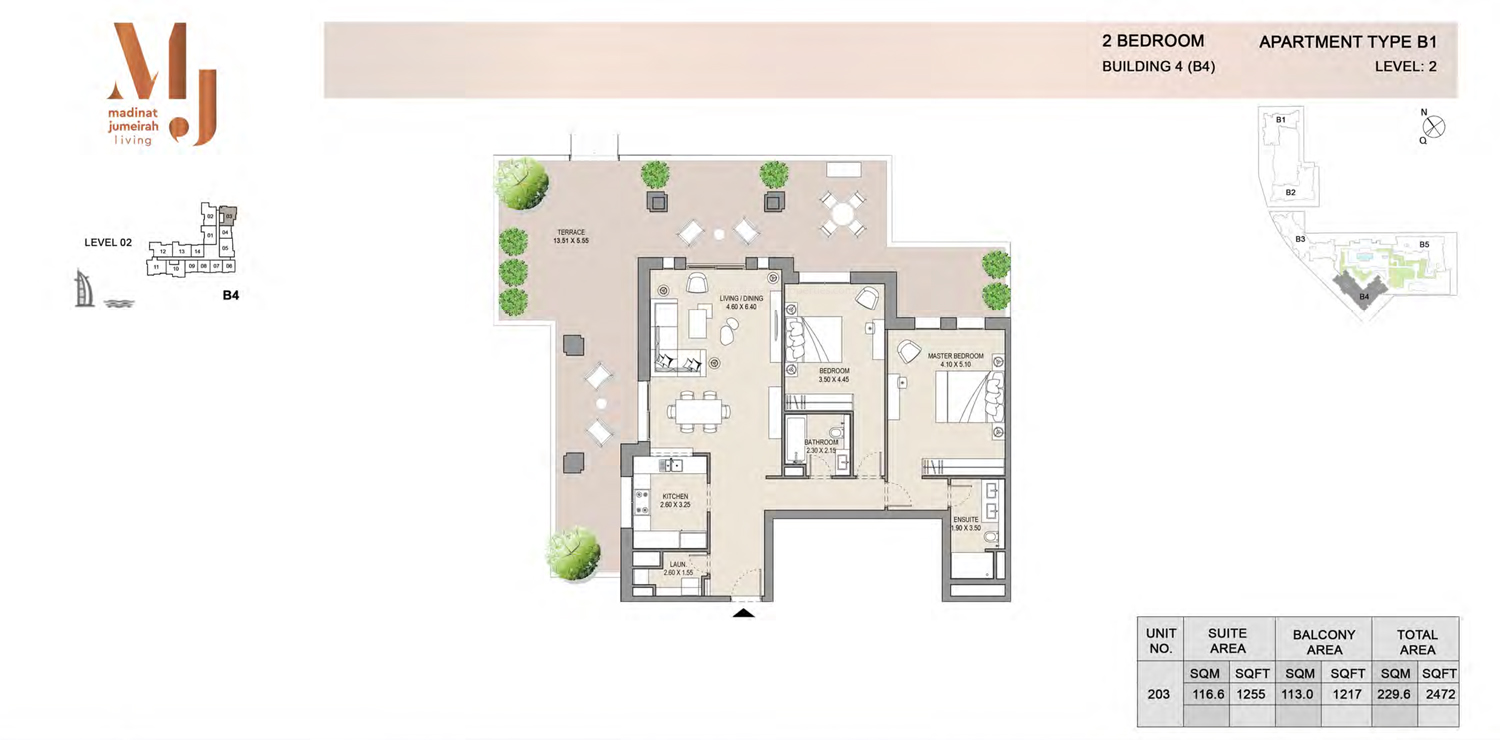 Building 4 - 2 Bedroom - Level 2  Type B1  Size 2472 sq ft