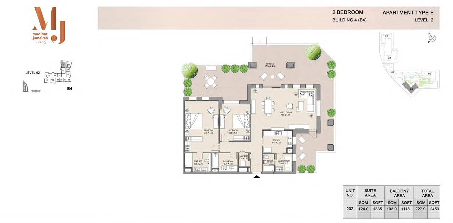 Building 4 - 2 Bedroom - Level 2  Type E  Size 2453 sq ft