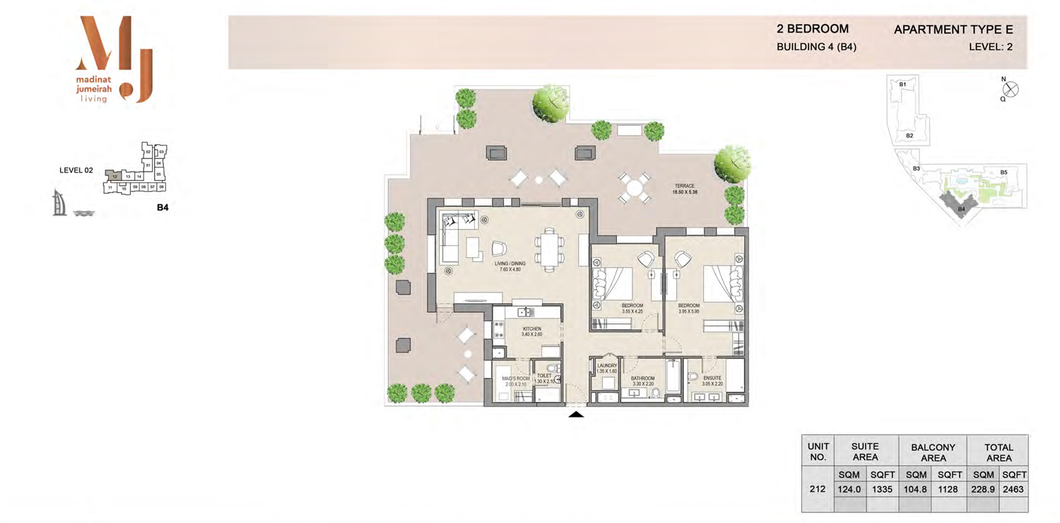 Building 4 - 2 Bedroom - Level 2  Type E  Size 2463 sq ft