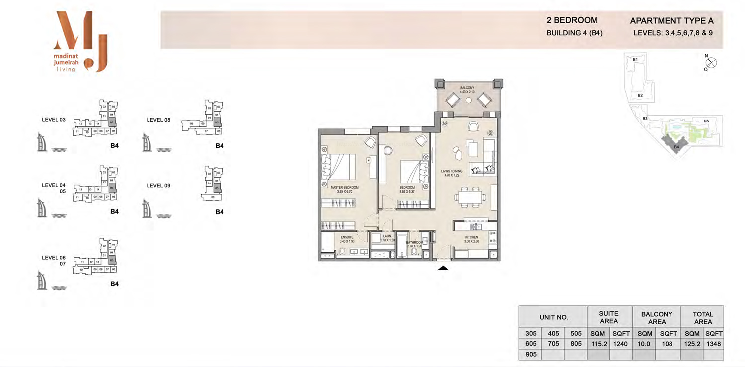 Building 4 - 2 Bedroom - Level 3 To 9  Type A Size 1348 sq ft