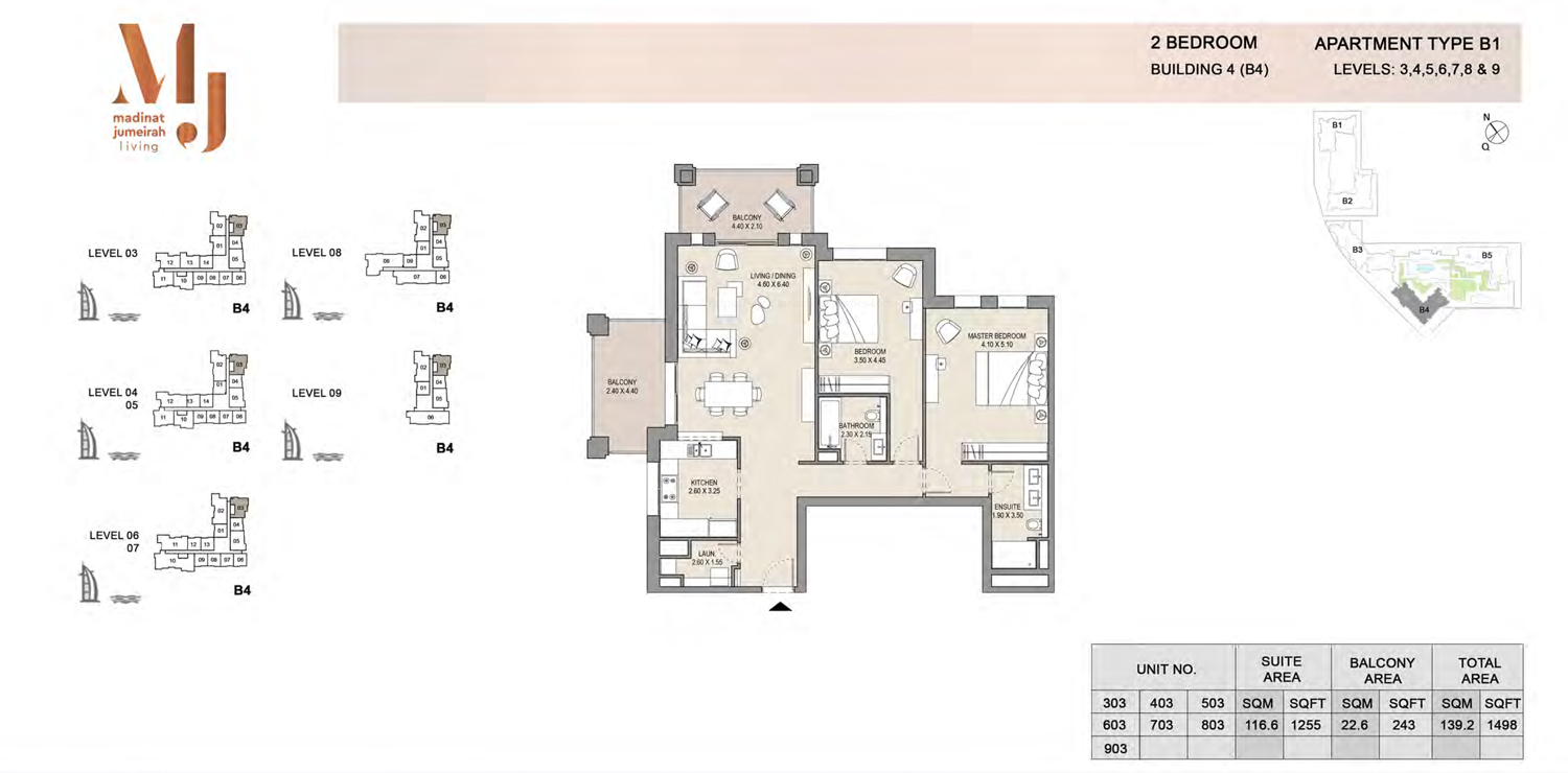 Building 4 - 2 Bedroom - Level 3 To 9  Type B1  Size 1498 sq ft