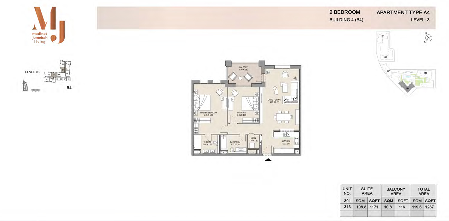Building 4 - 2 Bedroom - Level 3  Type A4  Size 1287 sq ft
