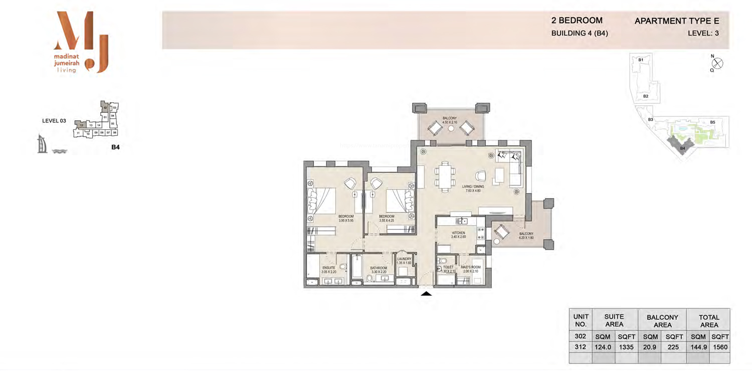 Building 4 - 2 Bedroom - Level 3 Type E  Size 1560 sq ft