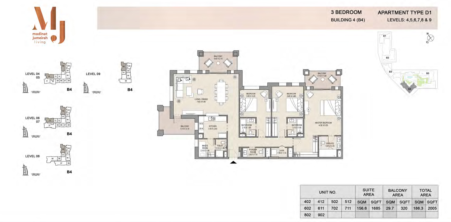 Building 4 - 3 Bedroom - Level 4 To 9  Type D1  Size 2005 sq ft