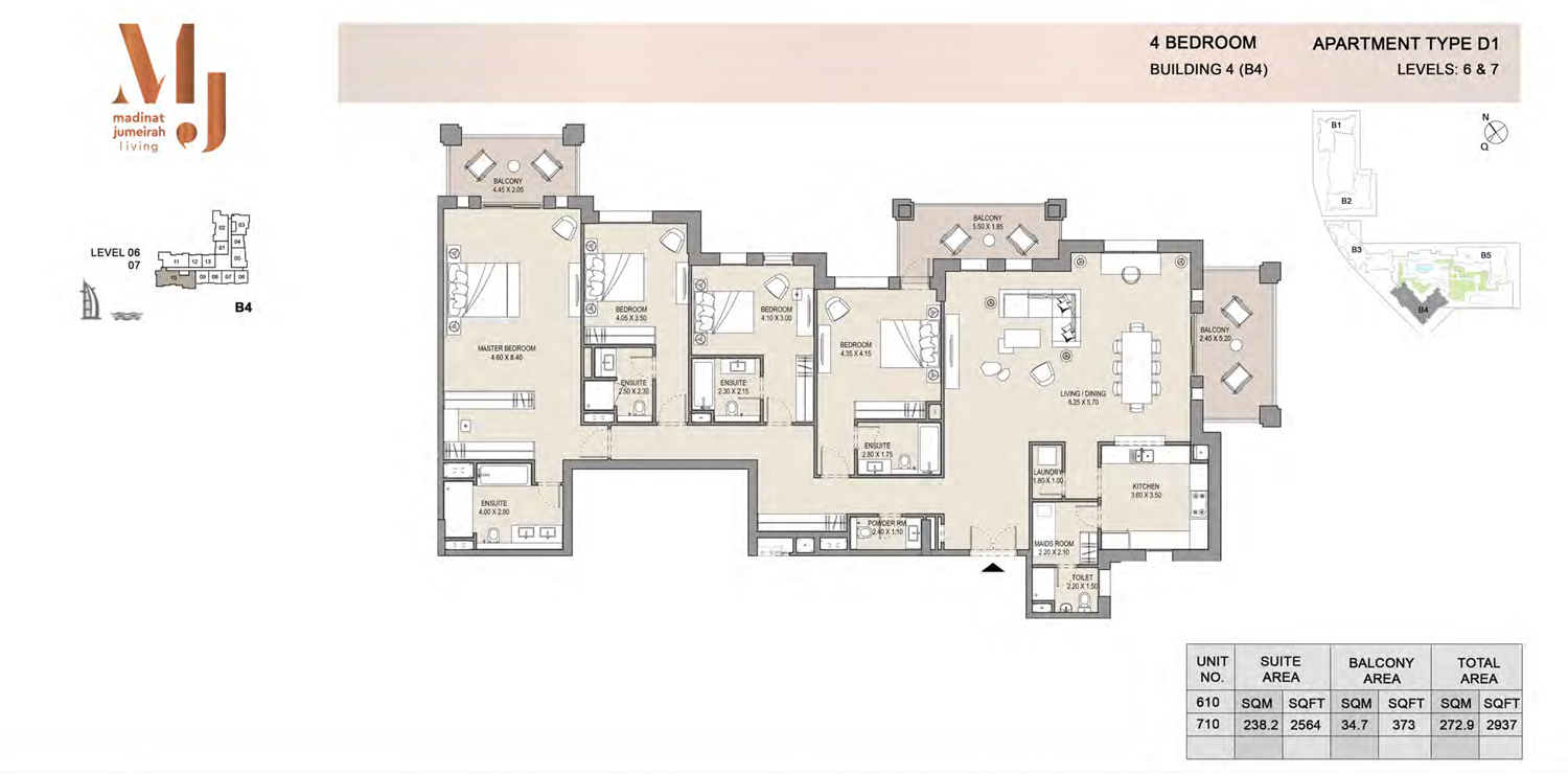 Building 4 - 4 Bedroom - Level 6 To 7  Type D1  Size 2937 sq ft