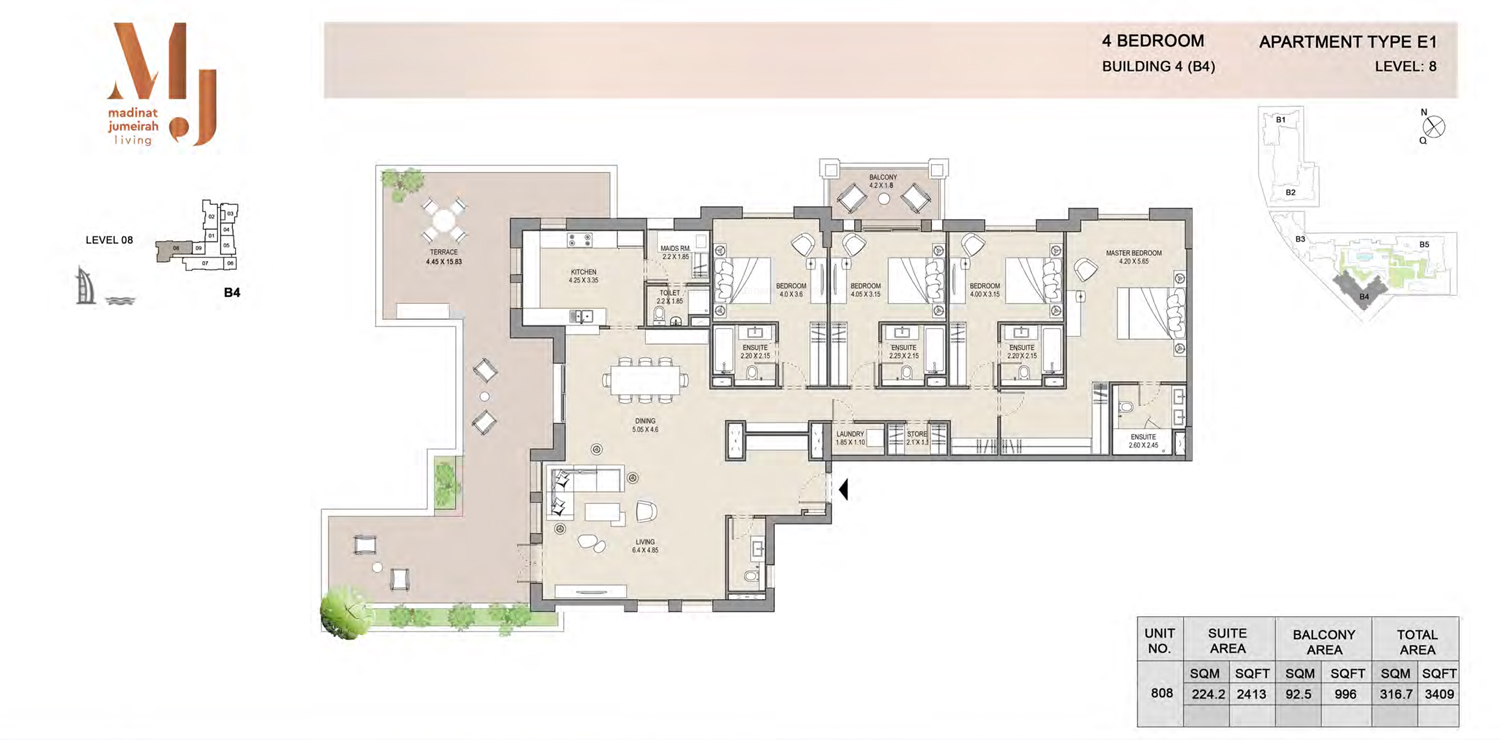 Building 4 - 4 Bedroom - Level 8  Type E1  Size 3409 sq ft