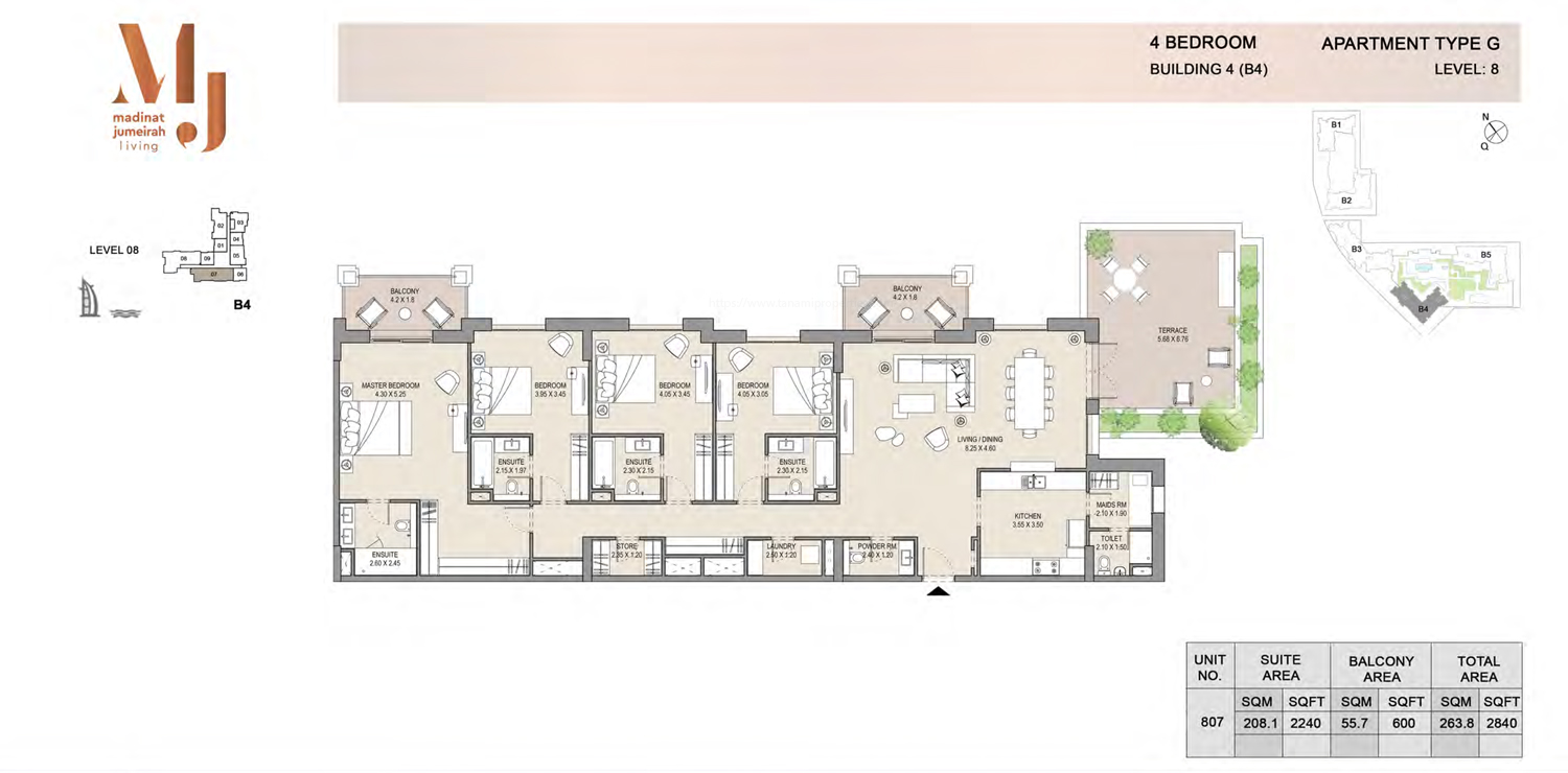 Building 4 - 4 Bedroom - Level 8  Type G  Size 2840 sq ft
