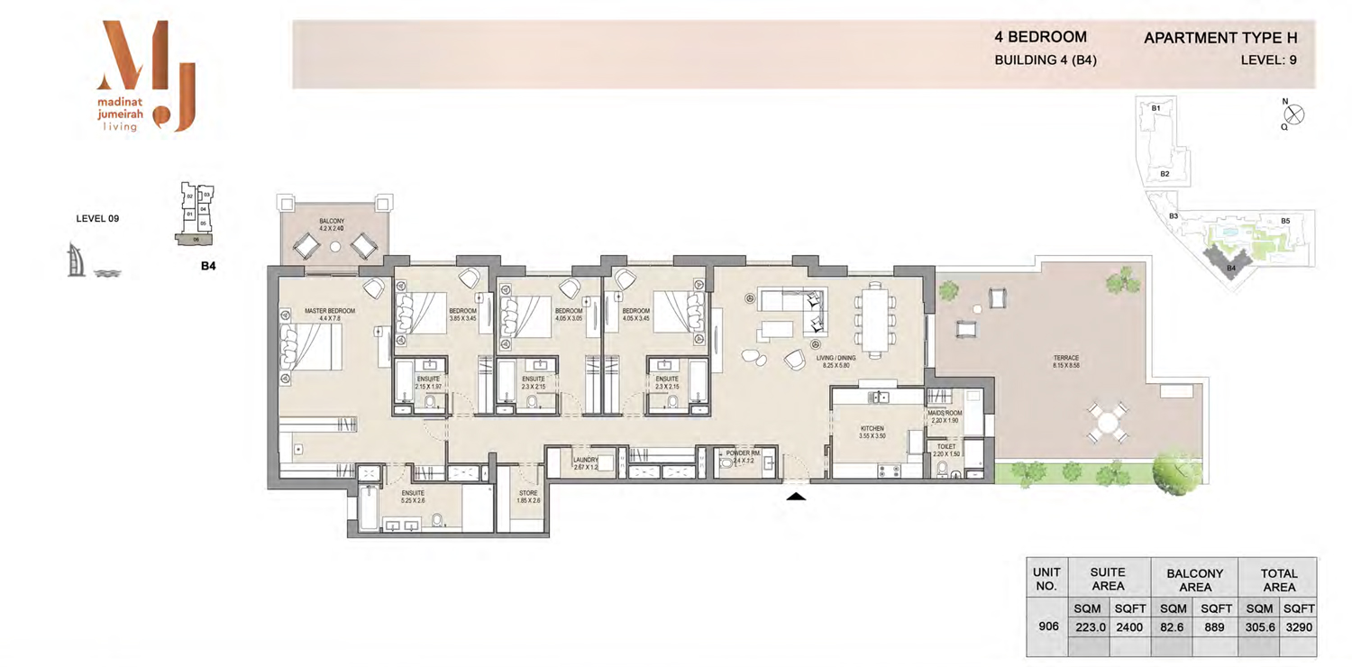 Building 4 - 4 Bedroom - Level 9 Type H  Size 3290 sq ft
