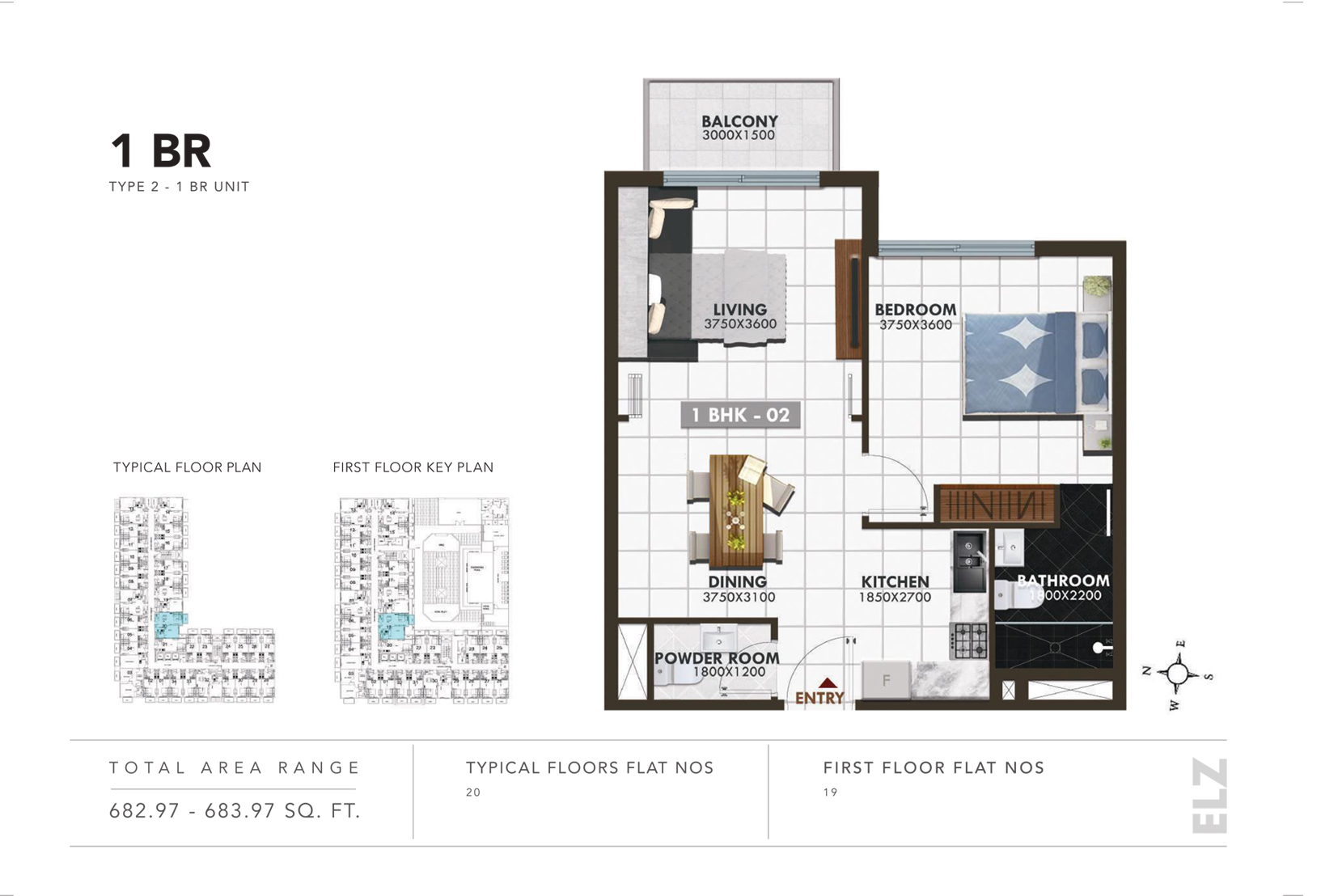 1 Bedroom Type 2, Size 682.97 - 683.97 Sq.ft.