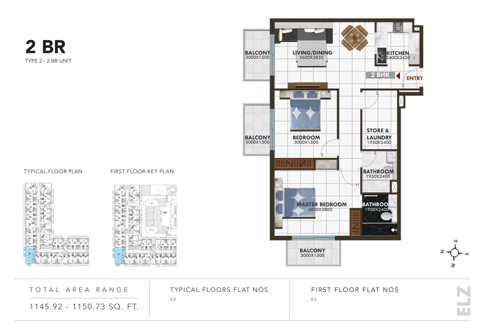 2 Bedroom Type 2, Size  1145.92 - 1150.73 Sq.ft.