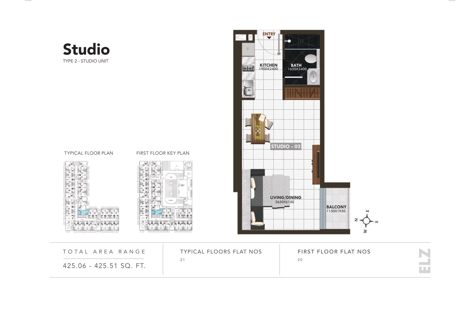 Studio Type 2, Size 425.06 - 425.51 Sq.ft.