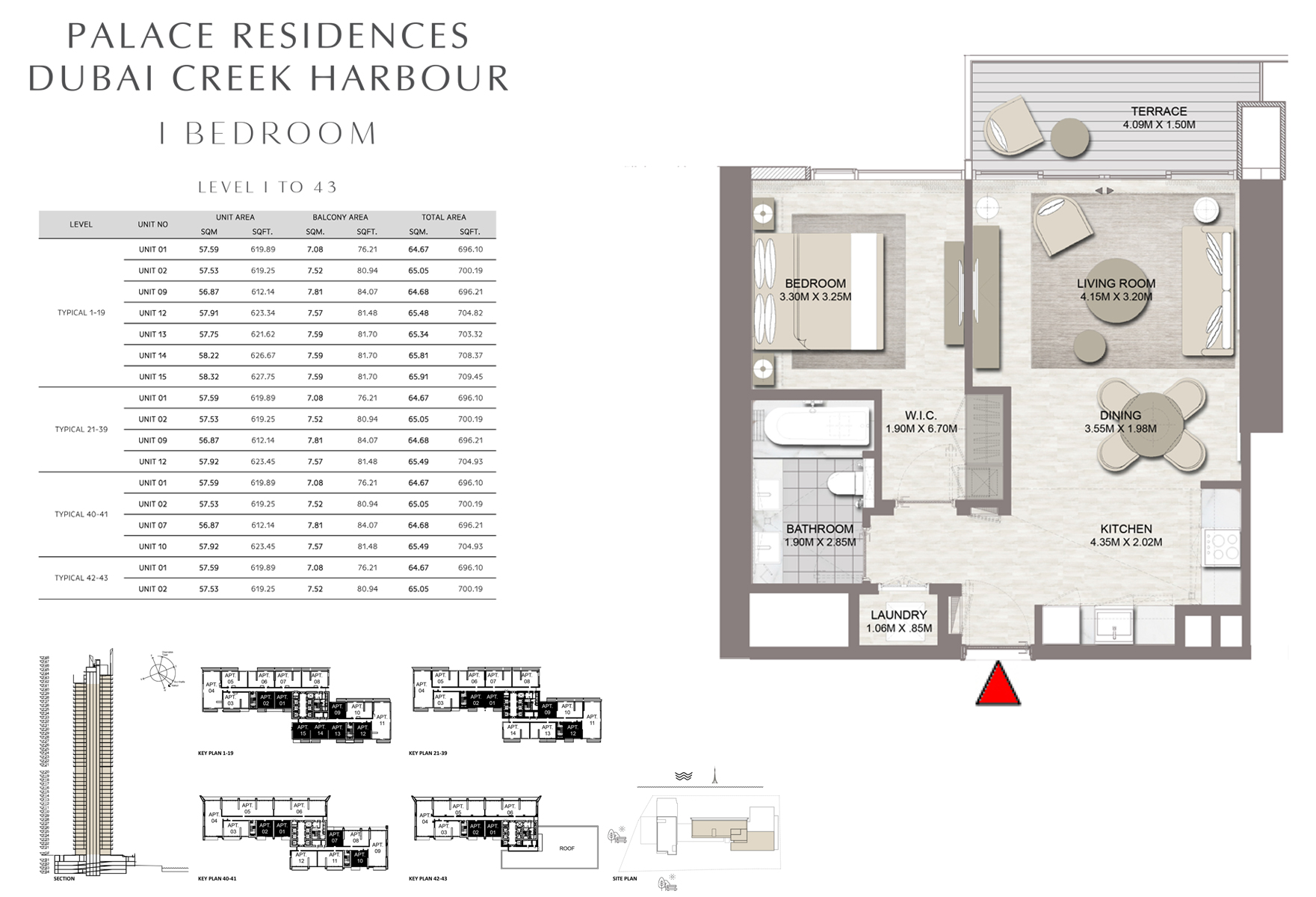 1 Bedroom - Level 1 To 43 Size 696.10 to 708.37 sq ft