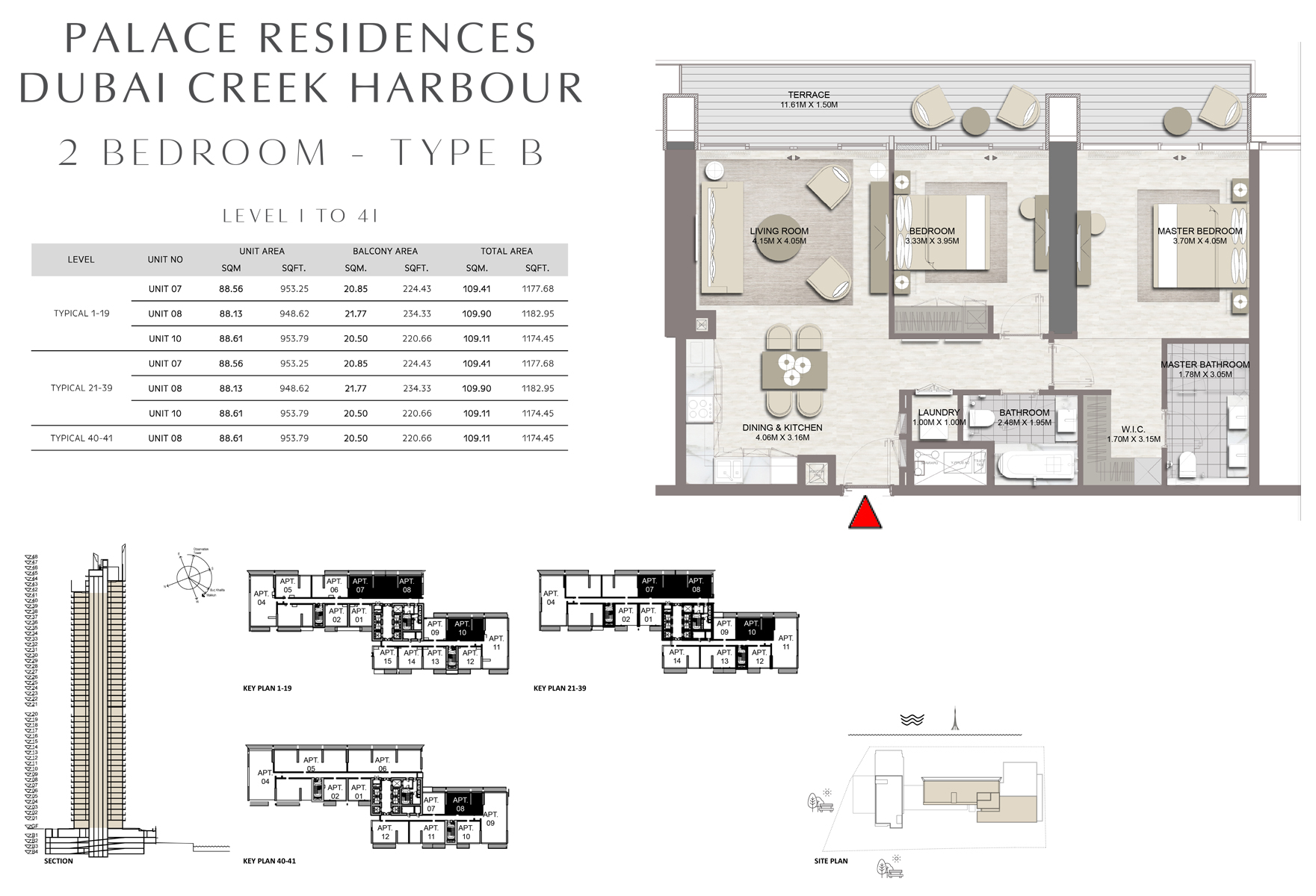2 Bedroom - Type B - Level 1 To 41 Size 1174.45 to 1182.95 sq ft