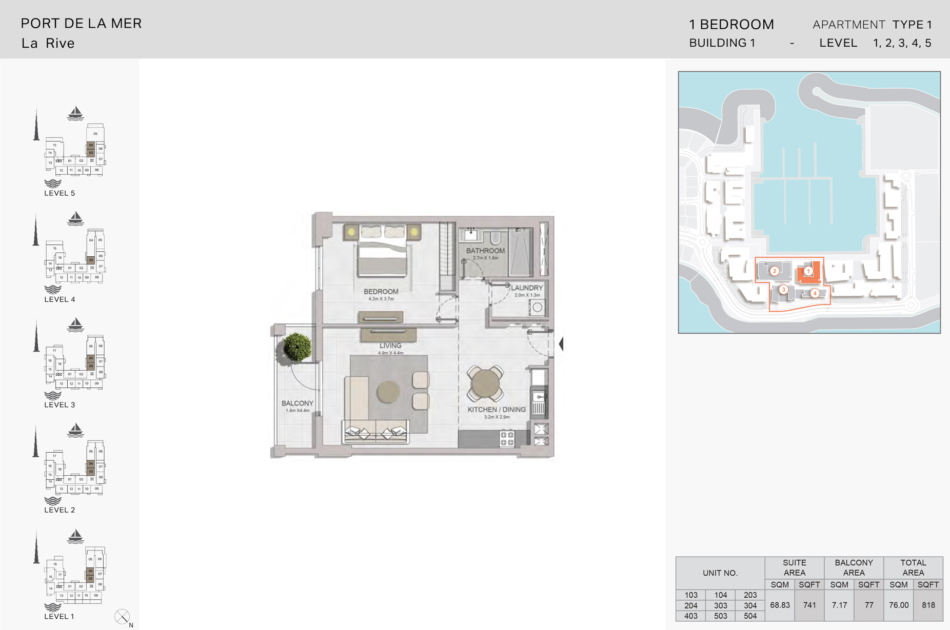 1 Bedroom Build1 Type1 Size 818 sqft