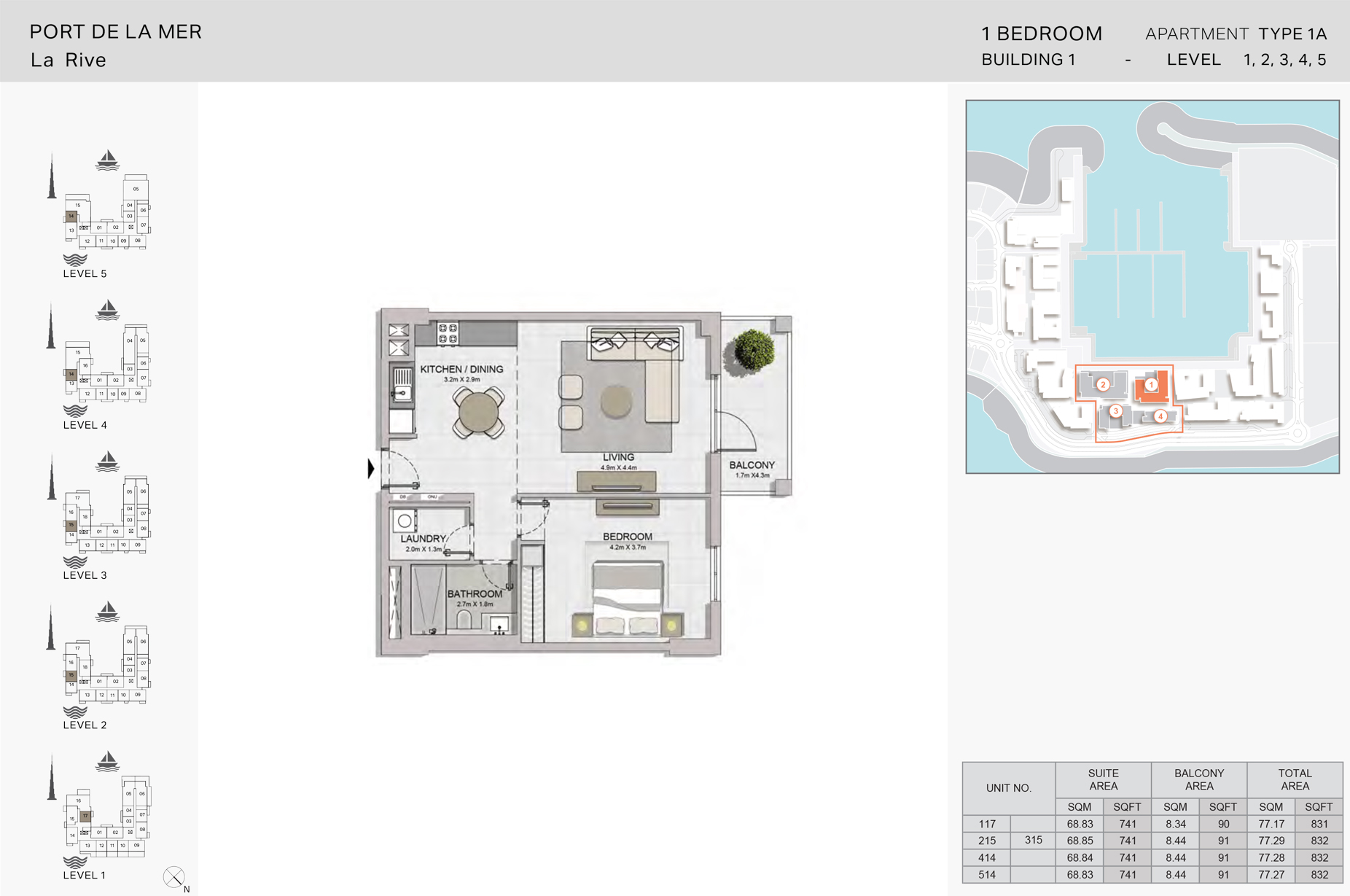 1 Bedroom Build1 Type1A  Size 832 sqft