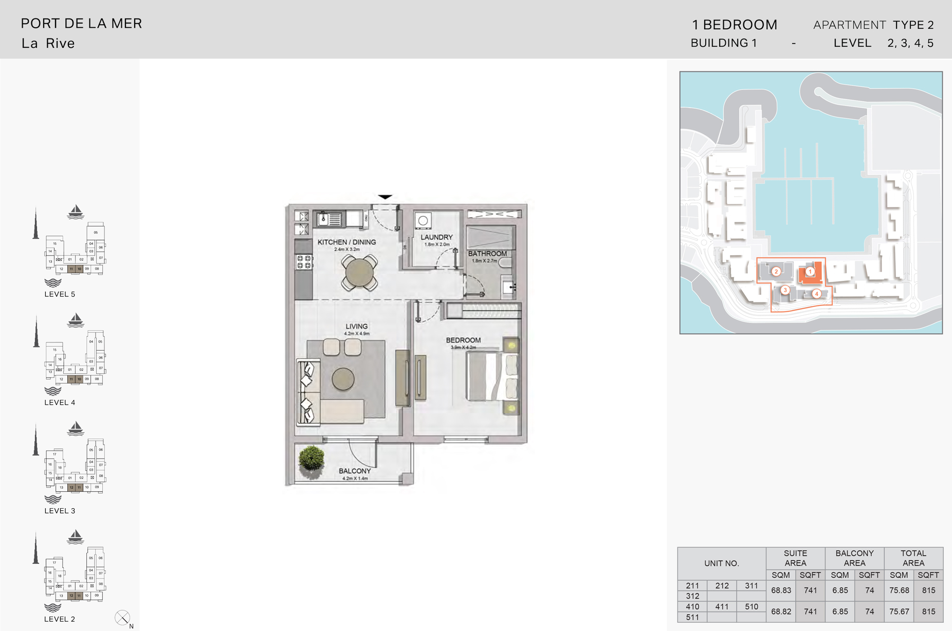 1 Bedroom Build1 Type2  Size 815 sqft