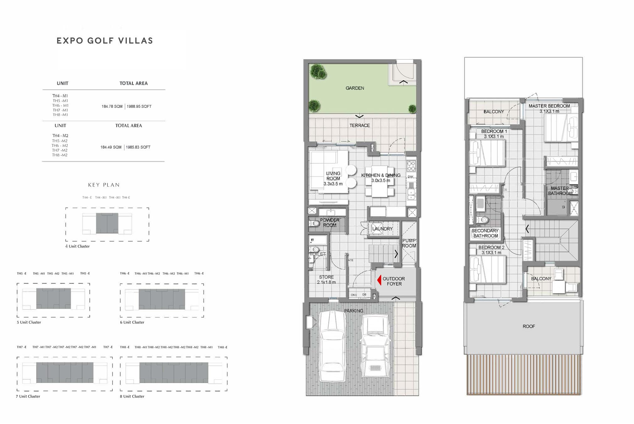3 Bedroom Villas Size 1985 to 1988 Sq Ft