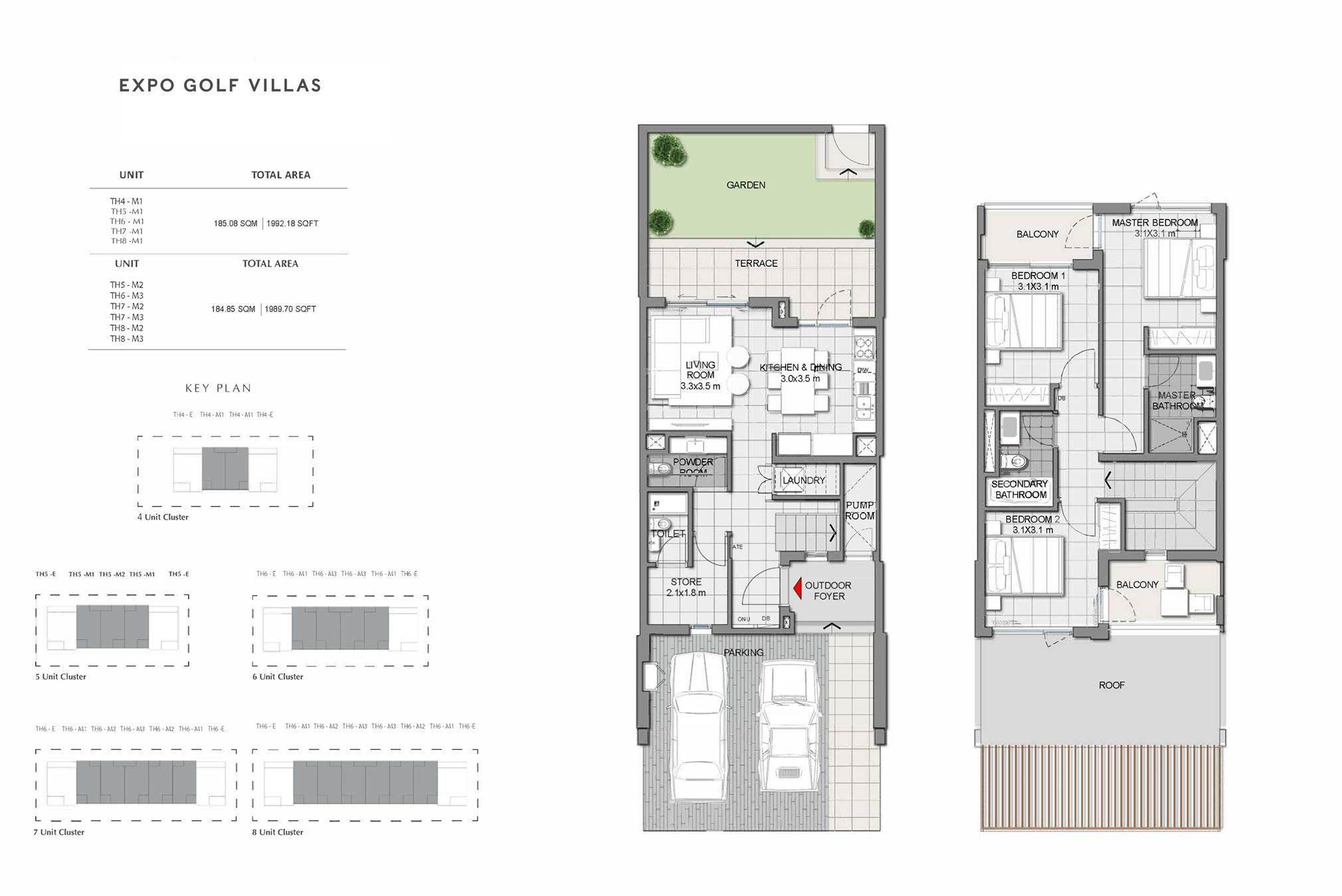 3 Bedroom Villas Size 1989 to 1992 Sq Ft