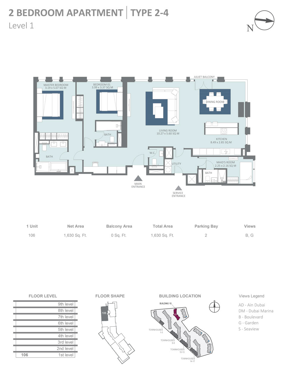 2 Bedroom  Type 2-4 Level 1  Size 1630 sqft