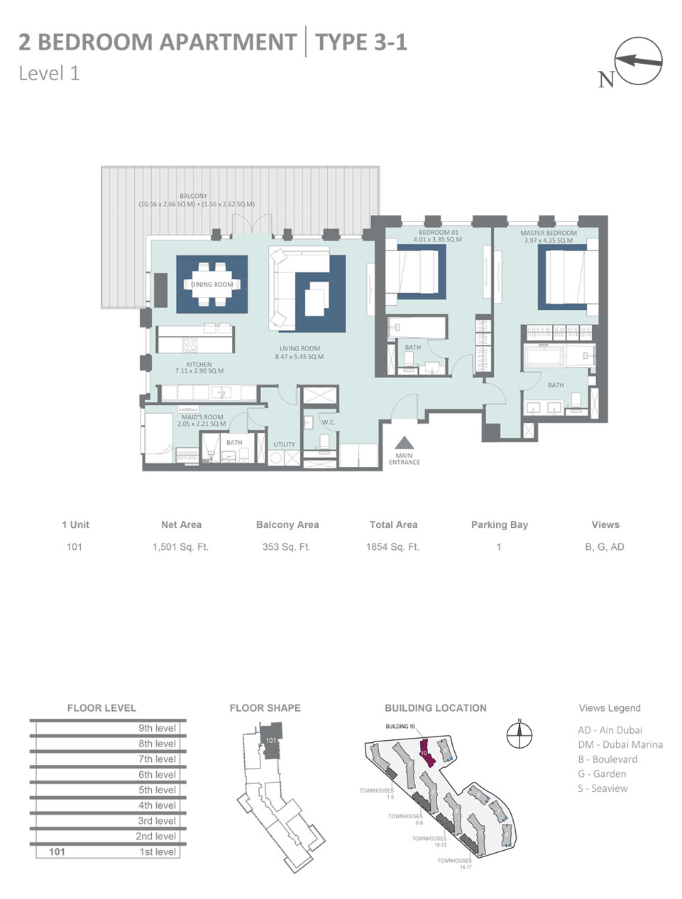 2 Bedroom  Type 3-1 Level 1 Size 1854 sqft