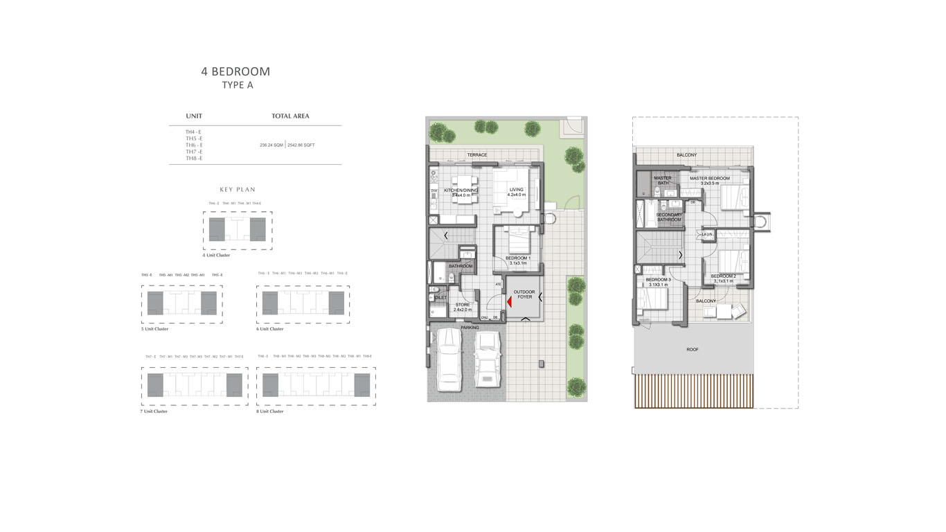4 Bedroom Type A  Size 2542.86 sqft