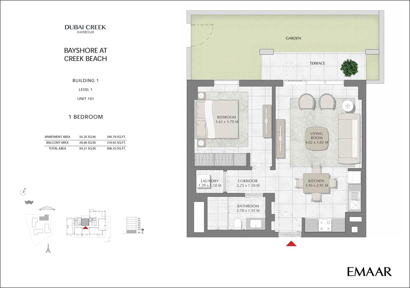 Building 1 - 1 Bedroom Level 1 Unit 101, Size 906 sq ft